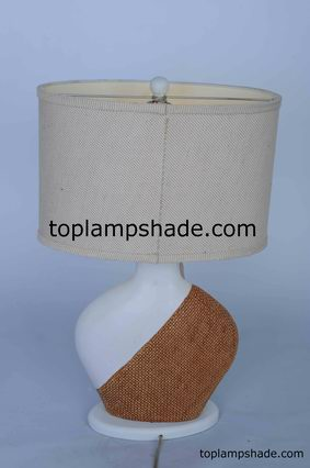 Oval Burlap Table Lampshade-LS1688